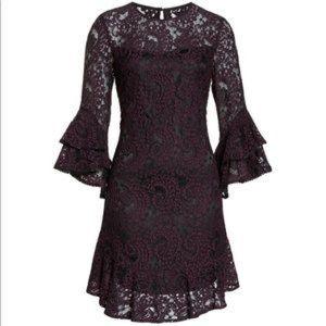 Eliza J Double Ruffle Lace Purple Dress